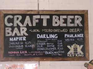 Craft Beer Bar sign at Hout Bay Market