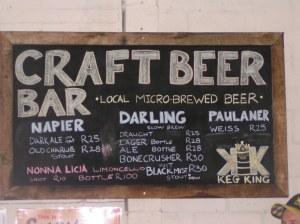Craft Beer Bar sign at Hout Bay Market